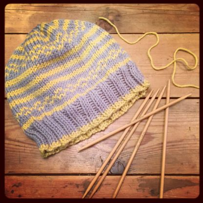 Two colour knitted hat